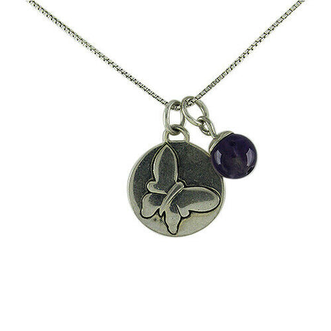 "QVC Sterling Silver Amethyst Gemstone Charm 16"" Necklace"