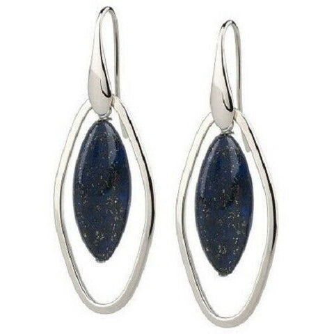 QVC Simona Collini Stainless Steel Oval Lapis Dangle Earrings