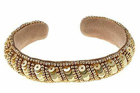 Deepa by Deepa Gurnani Bead and Sequin Cuff Bracelet - Golden