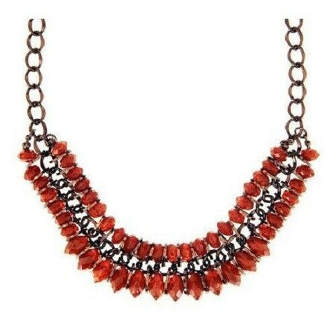 QVC Two Row Brown Bead Statement Necklace