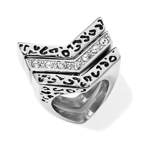 HSN Sigal Style 3piece Round Crystal Animal Print Stacked Rings Size 5