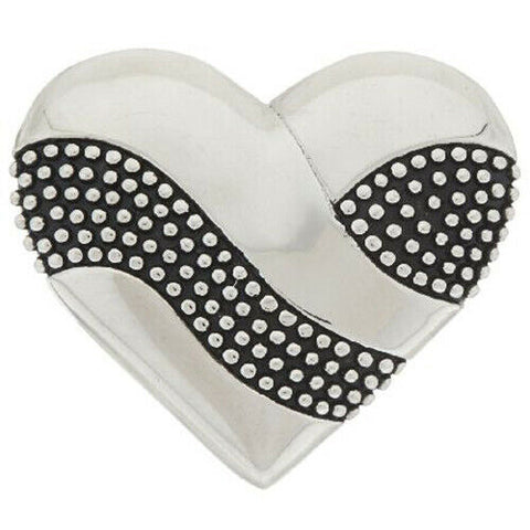 QVC Stainless Steel Textured & Polished Heart Slide Charm