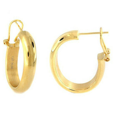 QVC Steel by Design Yellow Gold-Plated Stainless Steel Oval Hoop Earrings - Yellow Gold