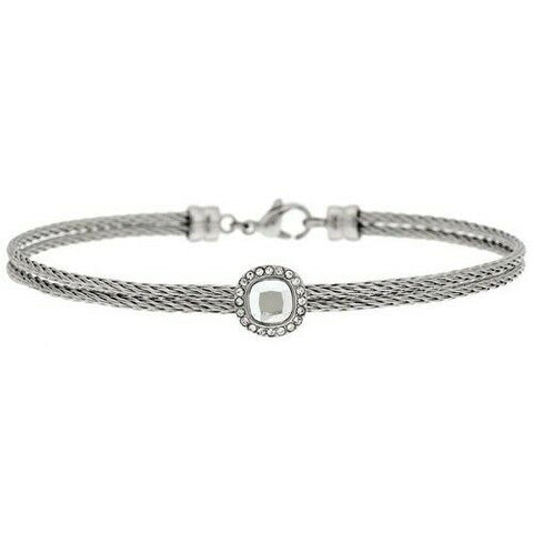 QVC Steel By Design Stainless Steel Clear Crystal Cable Average Bracelet