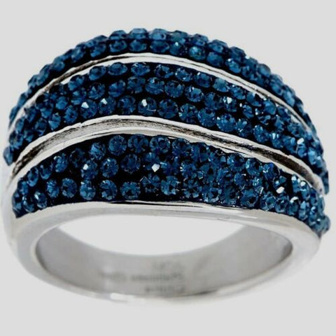 QVC Steel by Design Crystal Blue Polished Crystal Wave Ring Size 7