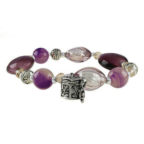 QVC Round & Oval Shape Multi Beads Heart Charm Stretch Bracelet