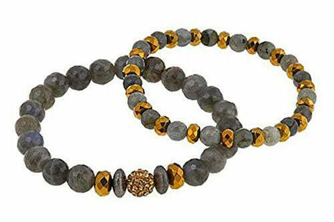 evoted Jewelry Labradorite and Multistone 2pc Bracelet Set
