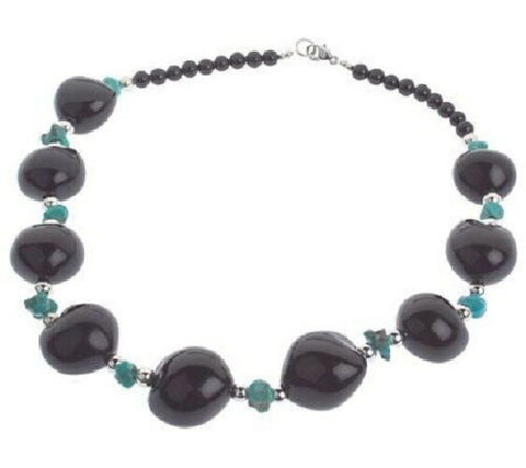 "QVC Lee Sands Kukui Nut & Turquoise Strand 20"" Necklace"