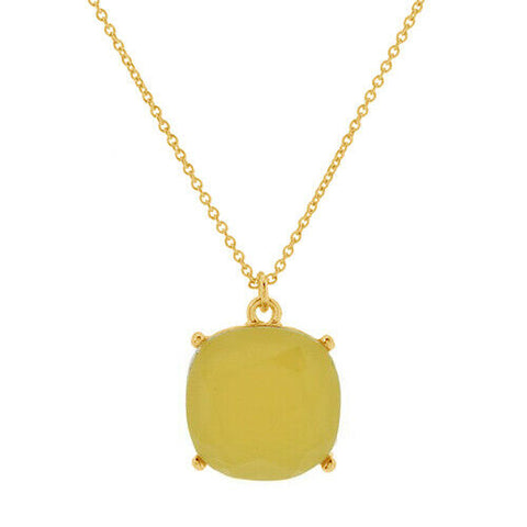 "QVC Joan Rivers Cushion Goldtone Yellow Candy Pendant 18"" Necklace"