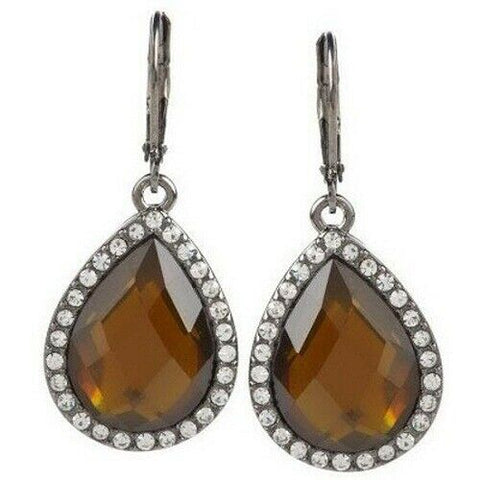 QVC Joan Rivers Brown Resin & Clear Crystal Teardrop Earrings