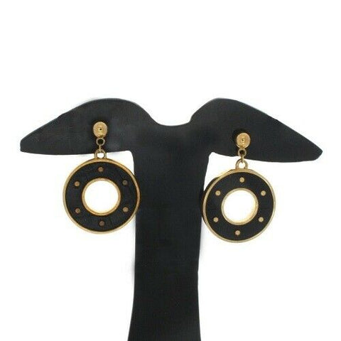 QVC Joan Rivers Black Croco Pattern Studded Hoop Earrings