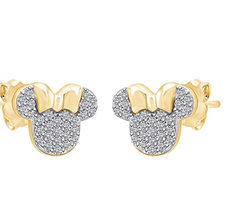 0.50Cttw Diamond Simulant Mouse Stud Fine Earrings In 14K Y Gold Over Sterling