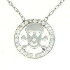 "Round Diamond Simulated Skull Bone Pendant 16"" Necklace Sterling Silver"