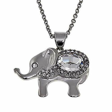 14k White Gold Over Cute Animal Lucky Elephant Pedant Necklace - White Gold