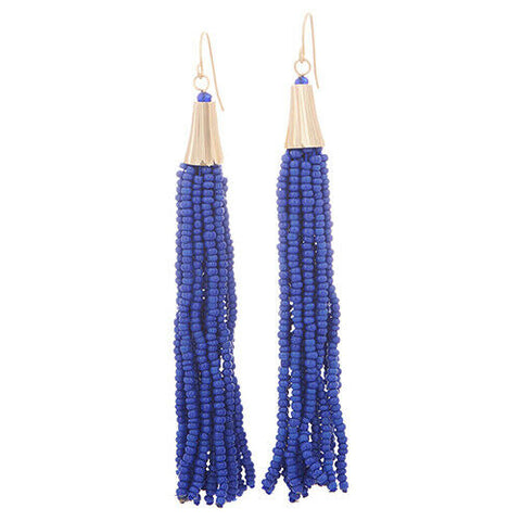 QVC The Reese Dark Blue Beaded Multi Strand Tassel Earrings one day handling