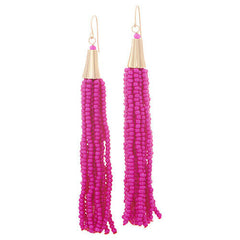 QVC The Reese Pink Beaded Multi Strand Tassel Earrings one day handling