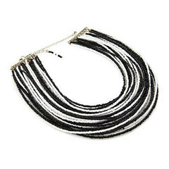 "HSN Black And White Beads Multi Strand 14"" Necklace"