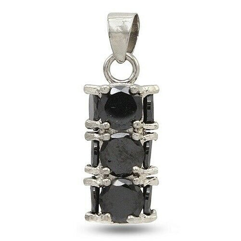 14k White Gold Over Round Black Spinel Cluster Pendant - White Gold
