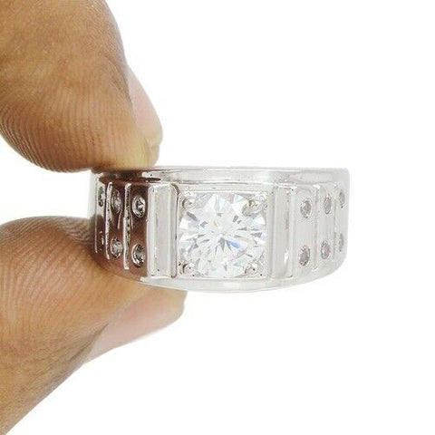 14K White Gold Over Diamond Simulated Round Cut Wedding Ring Size 9 - White Gold