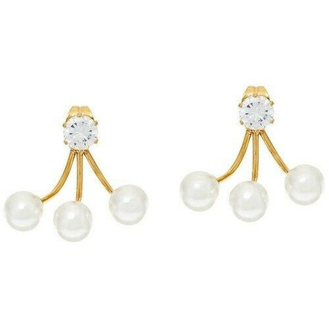 QVC Steel by Design Stainless Steel Crystal & Simulated Pearl Earrings