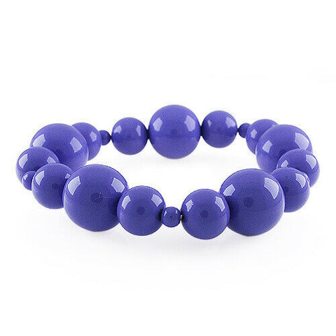 HSN Round Shape Purple Beads Stretch Bracelet