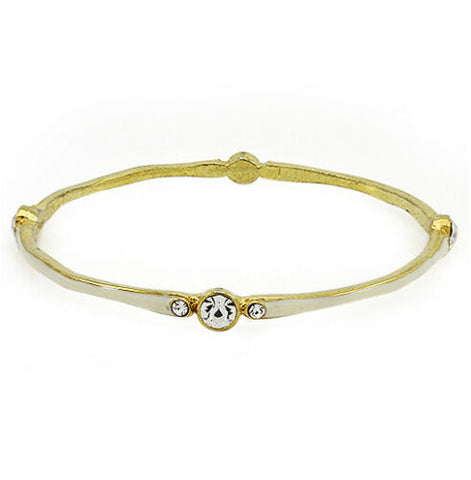 QVC Round Clear Crystal & Enamel Average Bangle