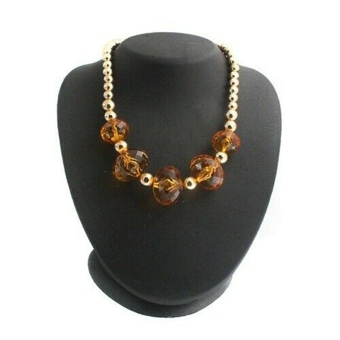 QVC Bold Faceted Crystal Polished Bead Necklace