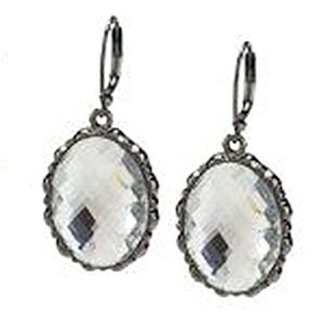QVC Joan Rivers Oval Clear Lever Back Drop Earrings