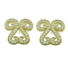 HSN Round Shape Clear Simulated Pearl Stud Earrings