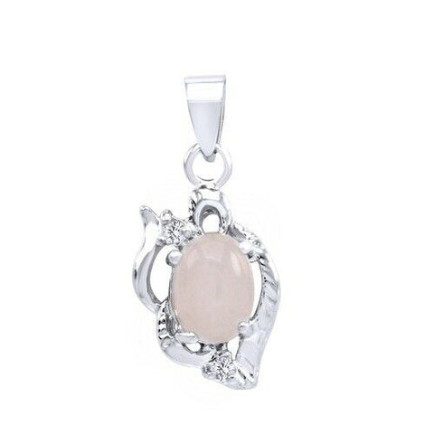White Moon Stone Solitaire Drop Pendant 14k White Gold Over - White Gold