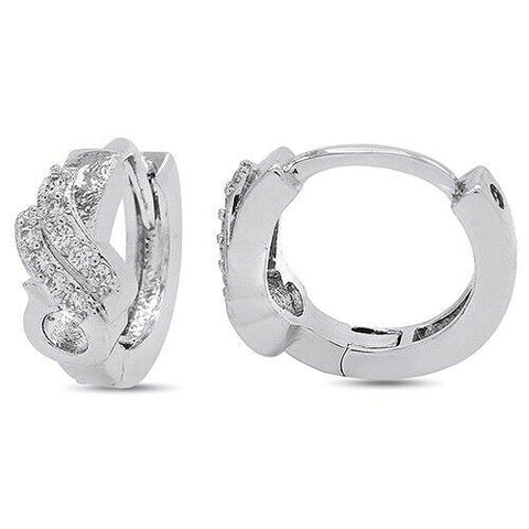14k White Gold Over Round Diamond Simulated Peacock Huggie Hoop Earrings - White Gold