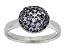 0.55 cttw Exotic Gemstone Pave' Round Sterling Stack Ring Sz-5 QVC
