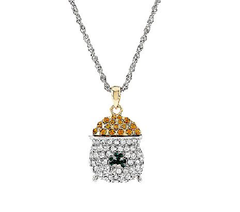 "Killarney Crystal Pot of Gold Pendant Necklace 36"" QVC"