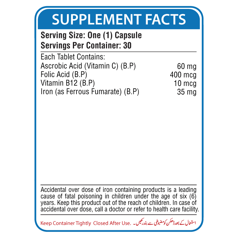 Fero Supplement Facts