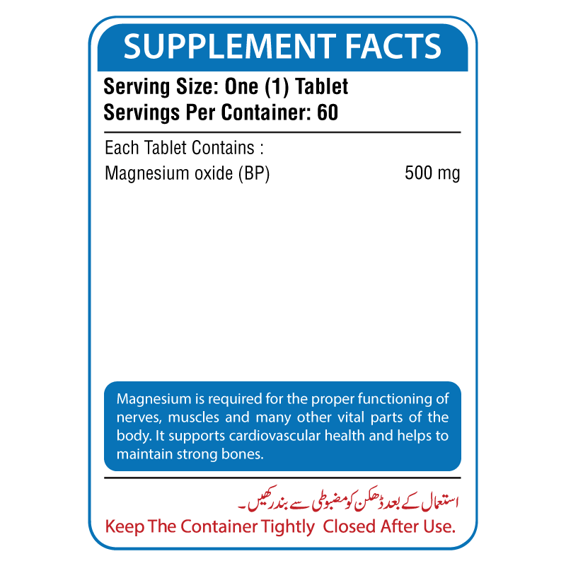 Magnesium 500mg Supplement Facts