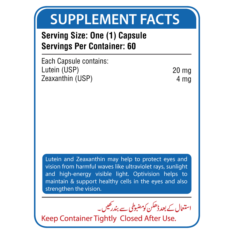 Opti Vision Supplement Facts