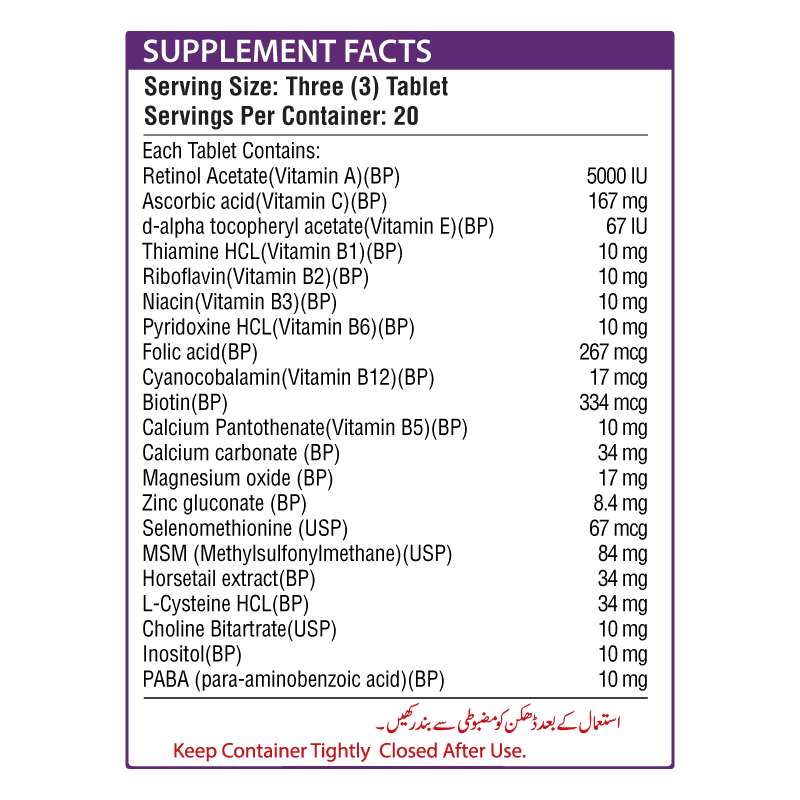 Maxzoom Supplement Facts