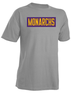 Monarchs Gray 50/50 Text Logo T-shirt