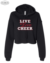 Load image into Gallery viewer, Live Love Cheer Cropped Hoodie