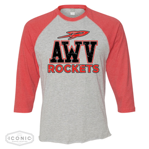 Ar-We-Va Red/Gray LAT- Adult Baseball Fine Jersey Tee