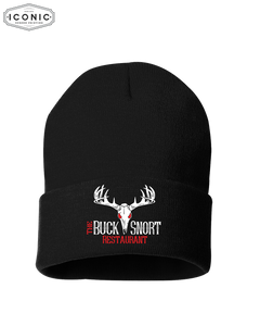 "The Buck Snort Restaurant - Solid 12"" Cuffed Beanie"