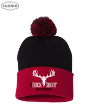 "Load image into Gallery viewer, The Buck Snort Restaurant - Pom Pom 12"" Knit Beanie"