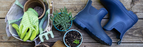 Cirrus Chelsea Rain Boots Flatlay with gardening supplies