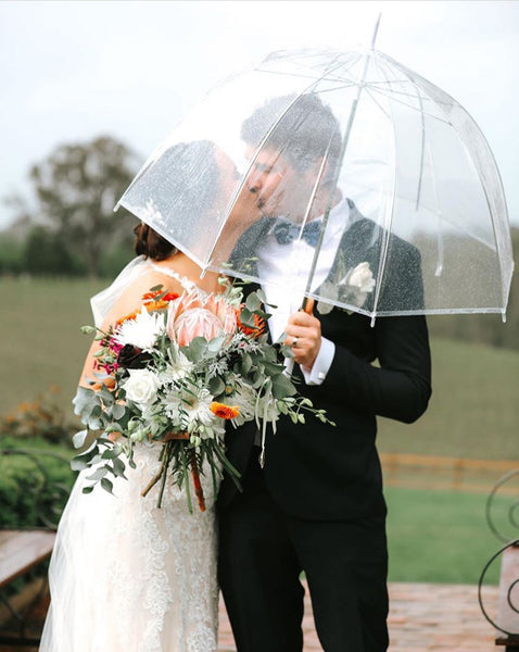 Bride and Groom underneath Signature Clear Bubble Umbrella