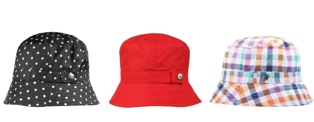 Three bucket hats in various colors and patterns