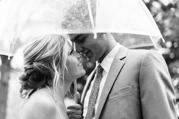 Bride and Groom underneath Signature Rain Umbrella