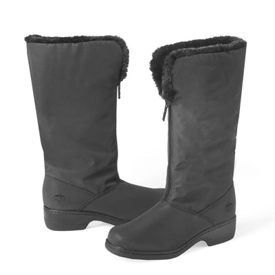 Cynthia Tall Winter Boots in Black Angled Side View