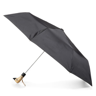 Wooden Duck Handle Auto Open Umbrella in Black Open Side Profile
