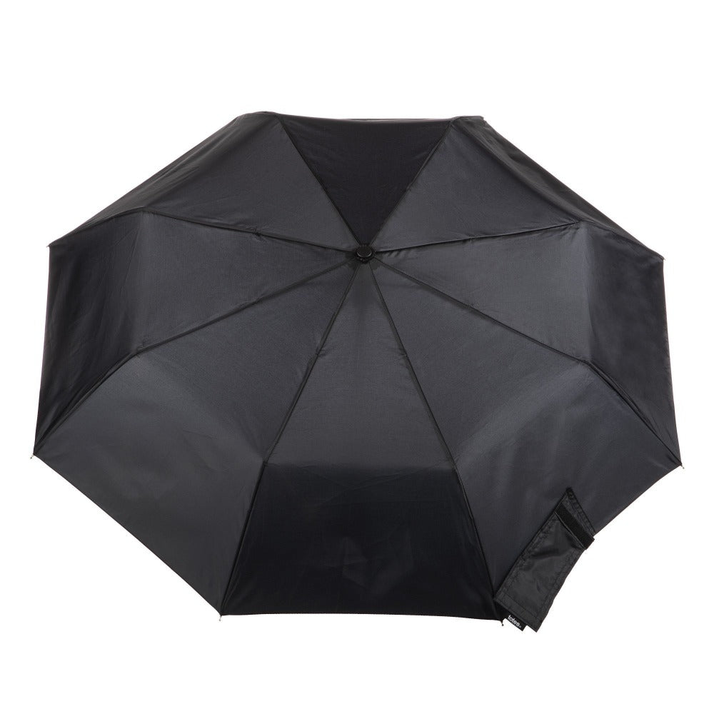 Wooden Duck Handle Auto Open Umbrella in Black Open Top View