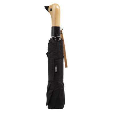 Wooden Duck Handle Auto Open Umbrella in Black Closed